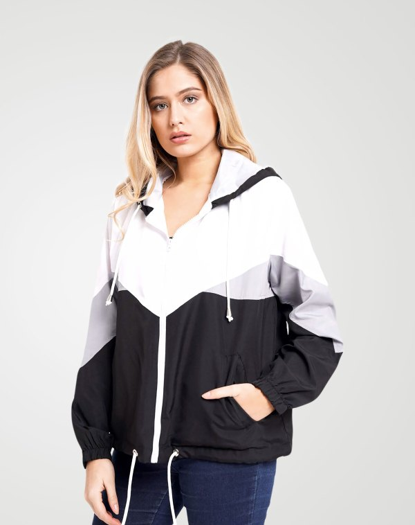 Image 1 of Womens Contrast Block Windbreaker Jacket color Black and sizes XS, S, M, L, XL from Noroze