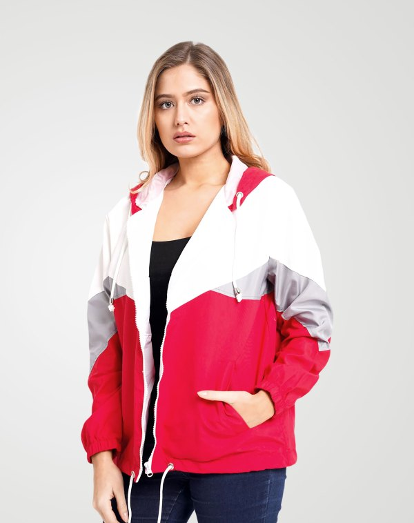 Image 1 of Womens Contrast Block Windbreaker Jacket color Red and sizes XS, S, M, L, XL from Noroze