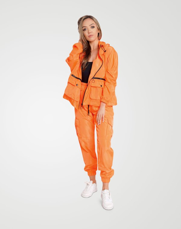 Image 1 of Womens Loose Light Raincoat Waterproof color Neon-Orange and Sizes S/M, L/XL from Noroze