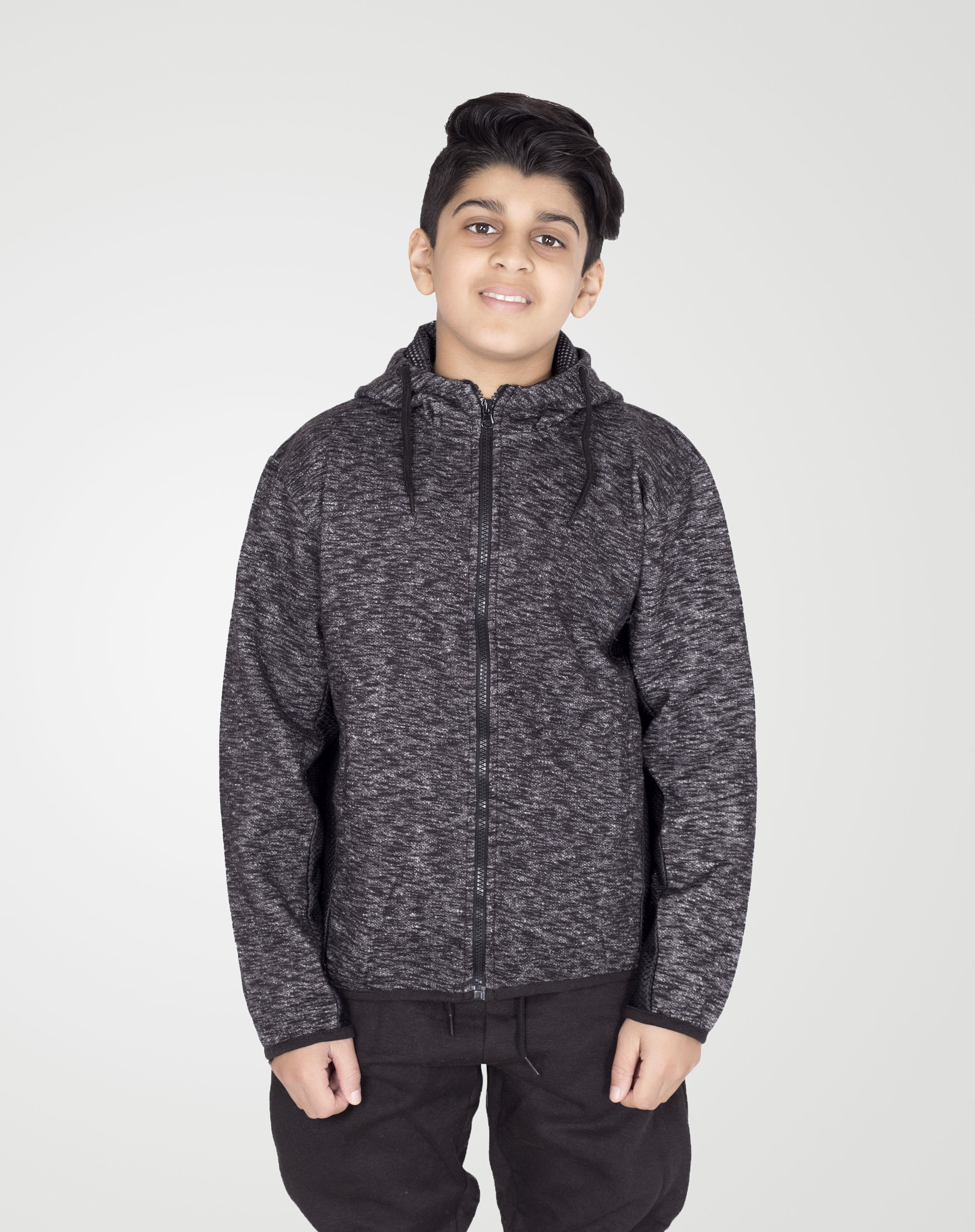 Image 1 of Boys Marl Mesh Tracksuit color Black and sizes 5-6, 7-8, 9-10, 11-12, 13 from Noroze