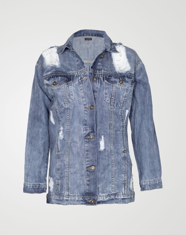Image 1 of Womens Oversized Denim Jacket color Light-Blue and sizes 8,10,12,14,16 from Noroze
