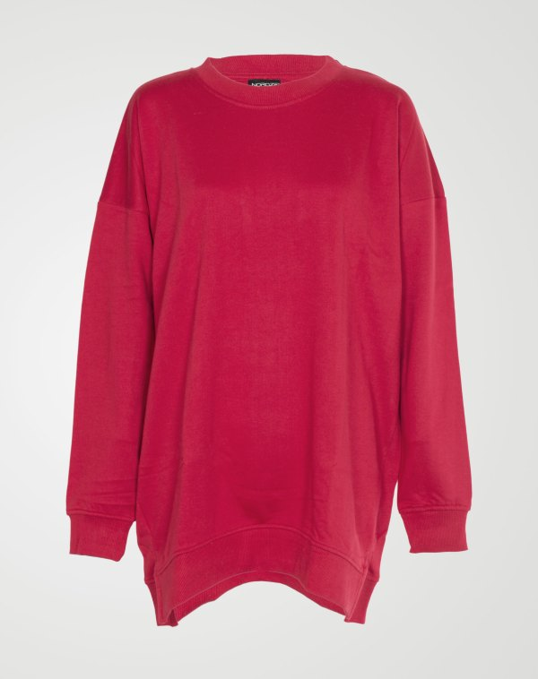 Image 1 of Womens Over-sized Sweatshirt Pullover color Red and sizes S, M, L, XL from Noroze
