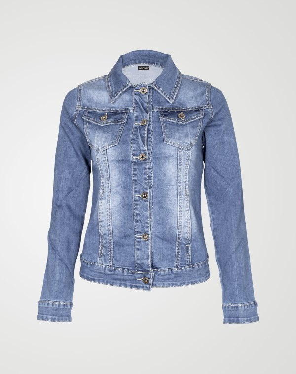 Image 1 of Womens Plain Denim Jacket color Blue and sizes 8,10,12,14,16,18 from Noroze
