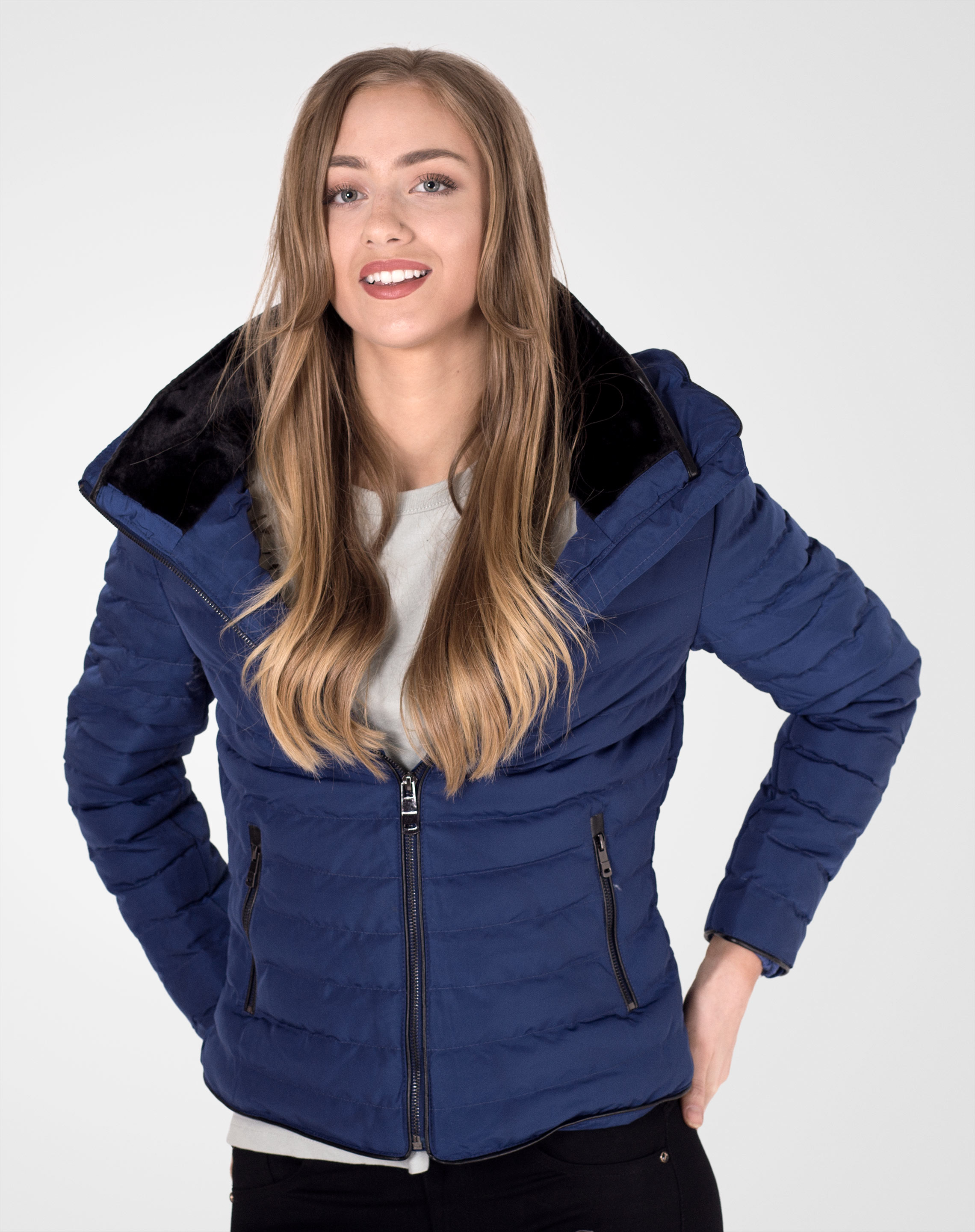 Image 1 of Womens Quilted Fur Jacket color Blue and sizes 8, 10, 12, 14, 16 from Noroze