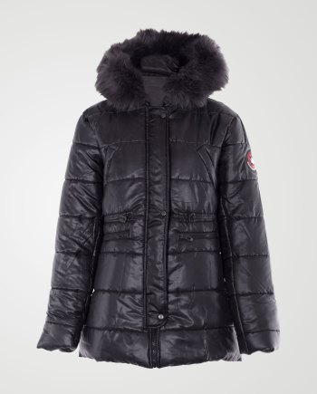 Image 1 of Womens Removable Fur Hood Jacket color Black and sizes S, M, L, XL from Noroze
