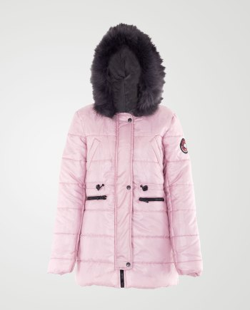 Image 1 of Womens Removable Fur Hood Jacket color Baby-Pink and sizes S, M, L, XL from Noroze