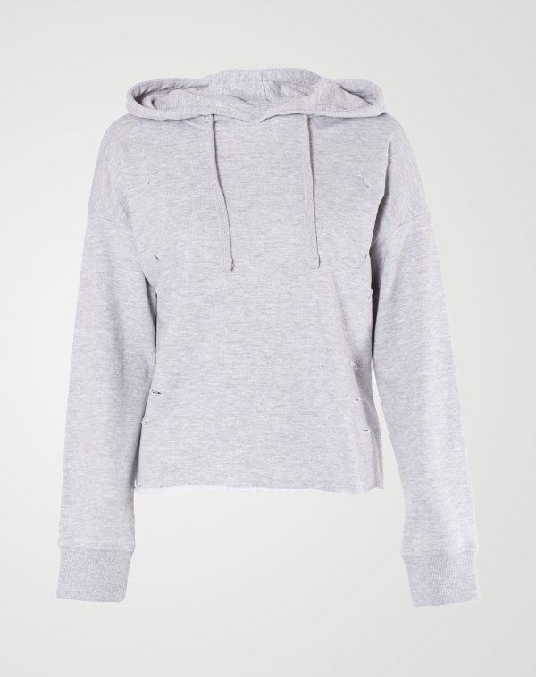 Image 1 of Womens Ripped Crop Hoodie Plain Pullover Sweater color Grey and sizes S, M, L, XL from Noroze