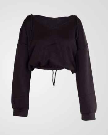Image 1 of Womens V Neck Hoodie Sweatshirt color Black and sizes S, M, L, XL from Noroze