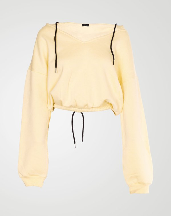 Image 1 of Womens V Neck Hoodie Sweatshirt color Yellow and sizes S, M, L, XL from Noroze