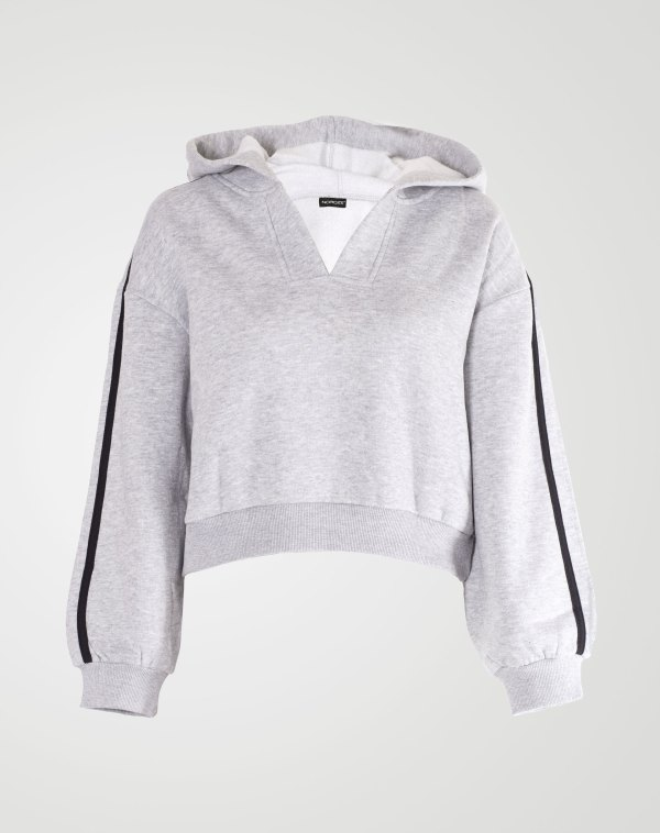 Image 1 of Womens V-Neck Striped Hoodie color Grey and sizes S, M, L, XL from Noroze