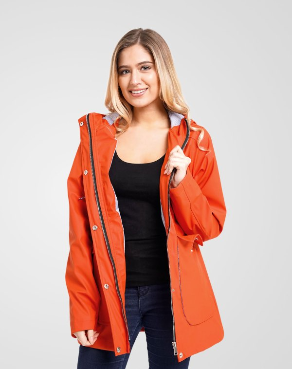 Image 1 of Womens Hooded Raincoat Jacket color Orange and sizes 8,10,12,14 from Noroze