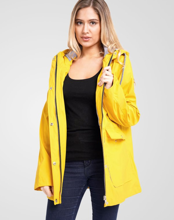 Image 1 of Womens Hooded Raincoat Jacket color Lemon in sizes 8,10,12,14 from Noroze