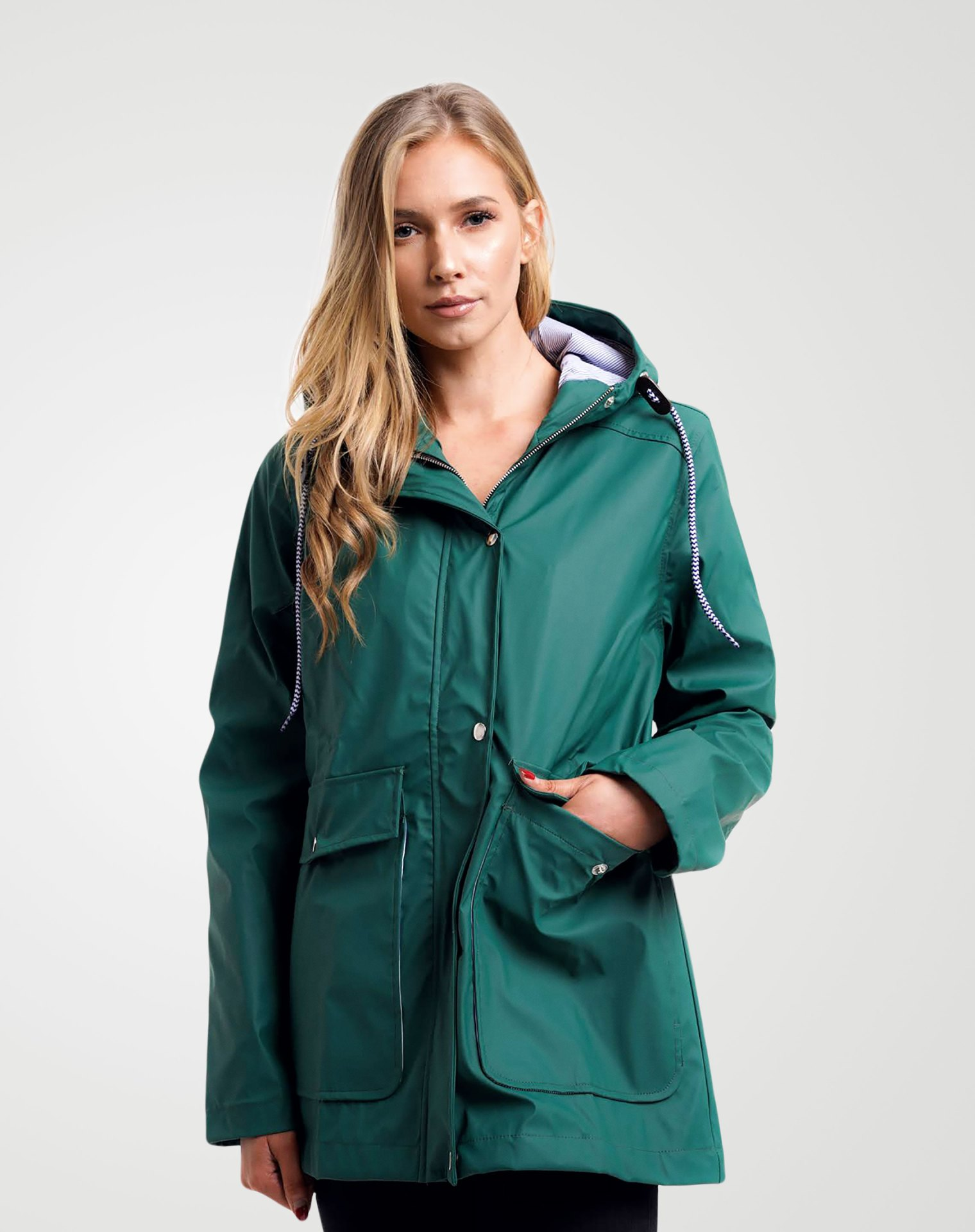 Image 4 of Womens Hooded Raincoat Jacket color Green and sizes 8,10,12,14 from Noroze