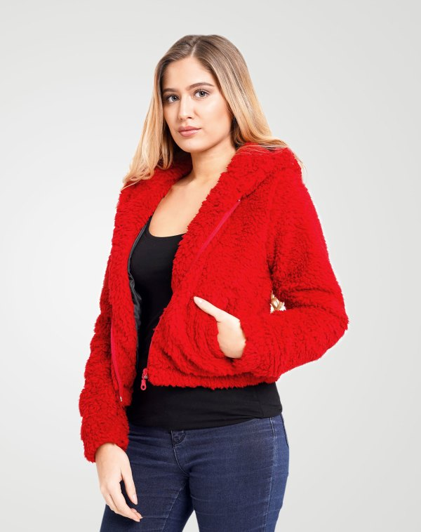 Image 2 of Womens Zip Borg Cropped Hodi color Red and size 8,10,12 from Noroze