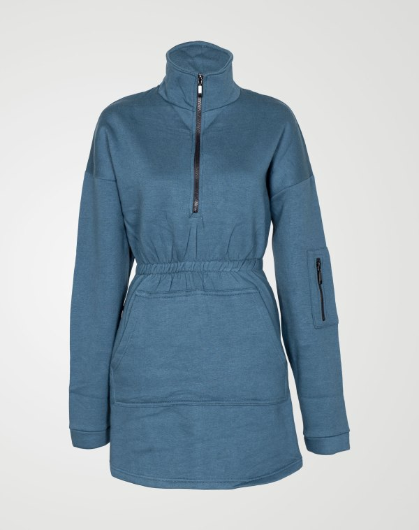 Image 1 of Womens Fleece Zip Sweatshirt Dress color Teal and sizes 8,10,12,14 from Noroze