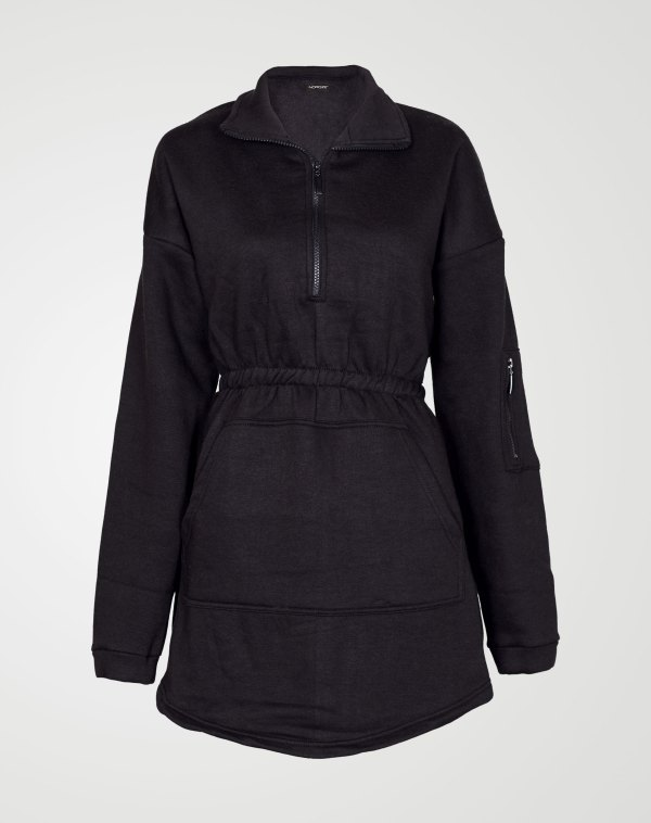 Image 2 of Womens Fleece Quarter Zip Top Dress color Black and sizes 8,10,12,14 from Noroze