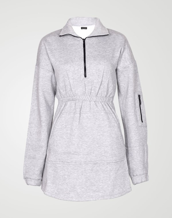 Image 1 of Womens Fleece Quarter Zip Top Dress color Grey and sizes 8,10,12,14 from Noroze