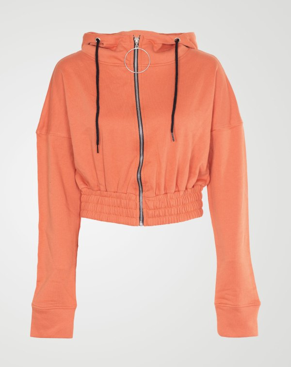 Image 1 of Womens Zipper Plain Hooded Sweatshirt color Orange and sizes S, M, L, XL from Noroze