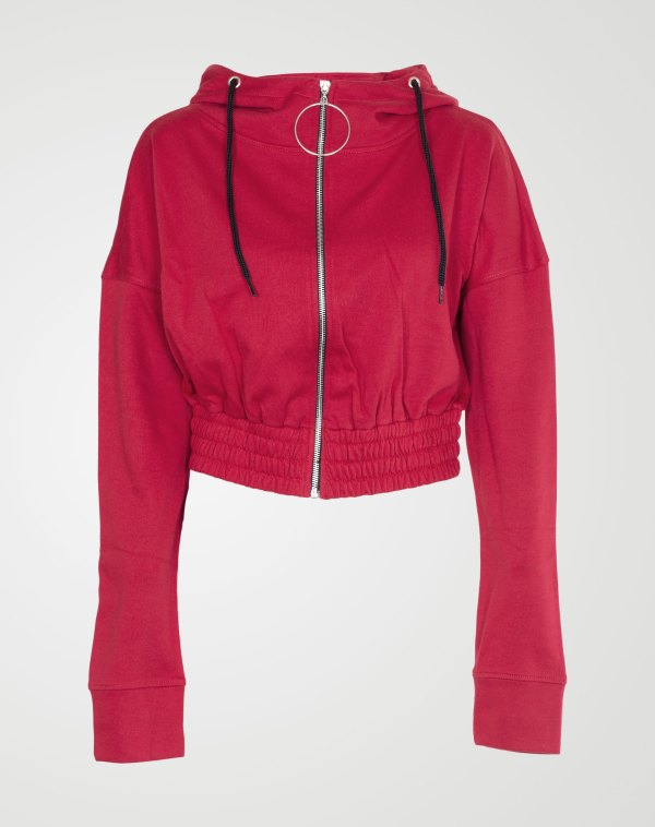 Image 1 of Womens Zipper Plain Hooded Sweatshirt color Red and sizes S, M, L, XL from Noroze