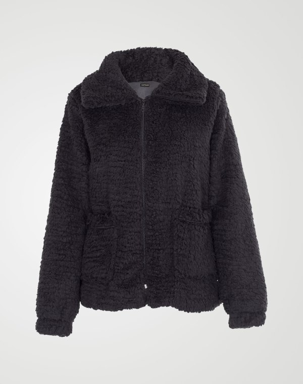 Image 1 of Womens Borg Teddy Jacket color Black and sizes 8,10,12 from Noroze