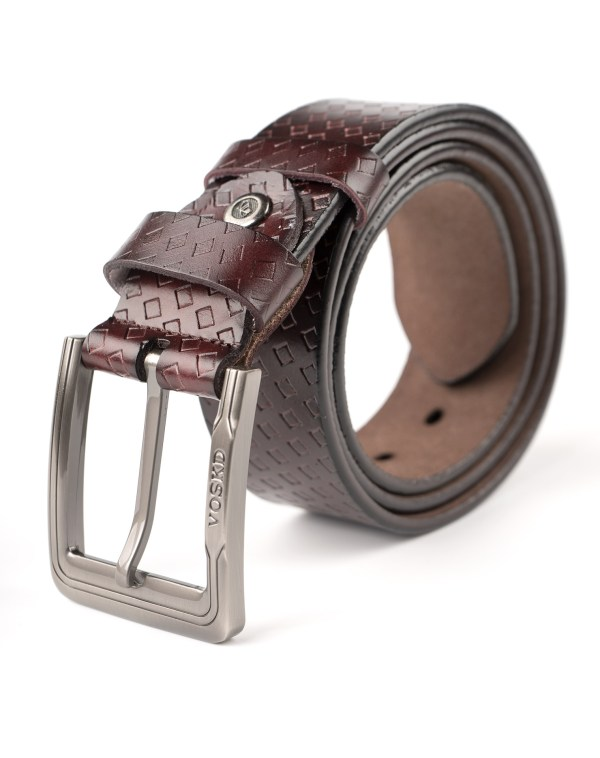 Image 1 of Mens Leather Belt with Squares of color Coffee from Noroze