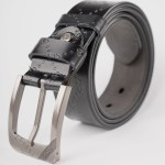 Image 1 of Mens Etched Buckle Leather Belt of color Black from Noroze