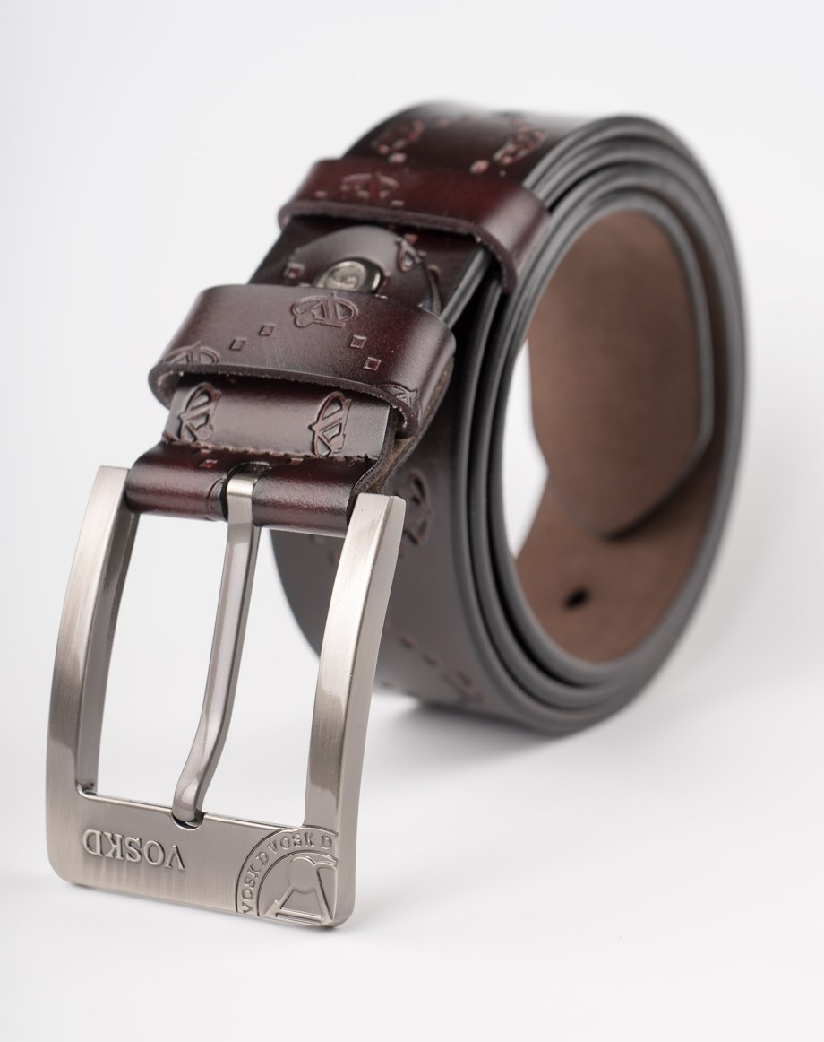 Image 1 of Mens Etched Buckle Leather Belt of color Coffee from Noroze