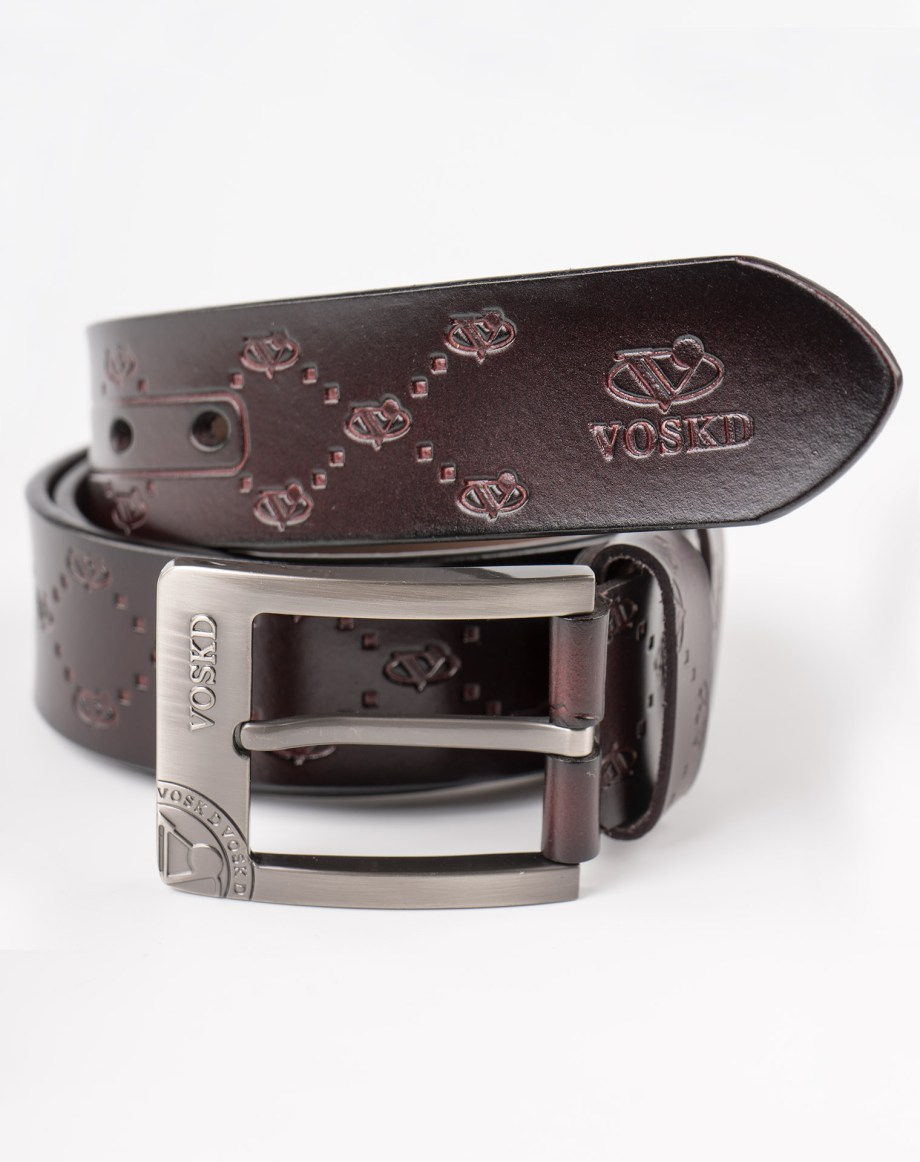 Image 2 of Mens Etched Buckle Leather Belt of color Coffee from Noroze