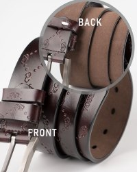 Image 4 of Mens Etched Buckle Leather Belt of color Coffee from Noroze
