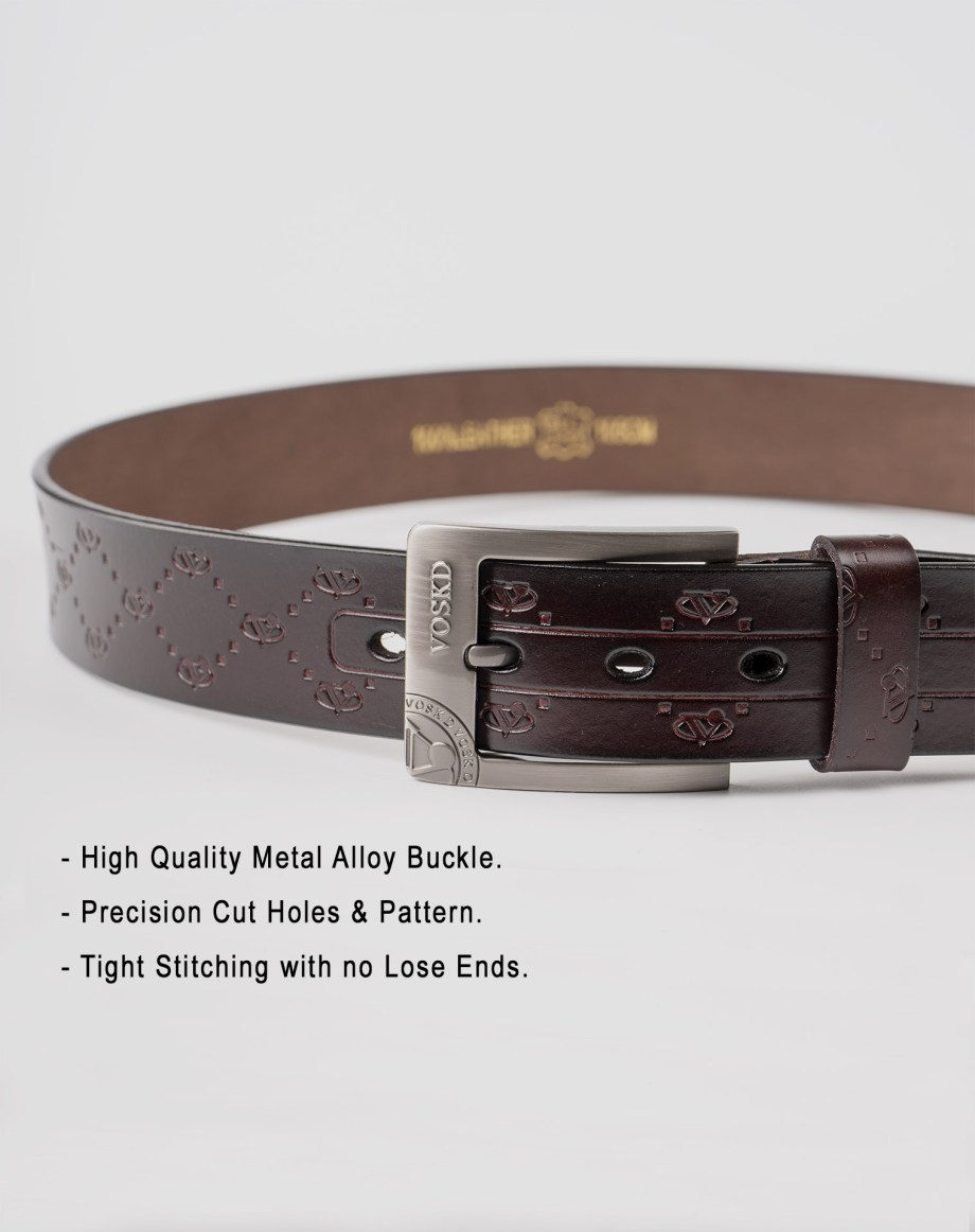 Image 5 of Mens Etched Buckle Leather Belt of color Coffee from Noroze