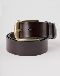 Image 3 of Mens Leather Brown Belt Golden Buckle from Noroze