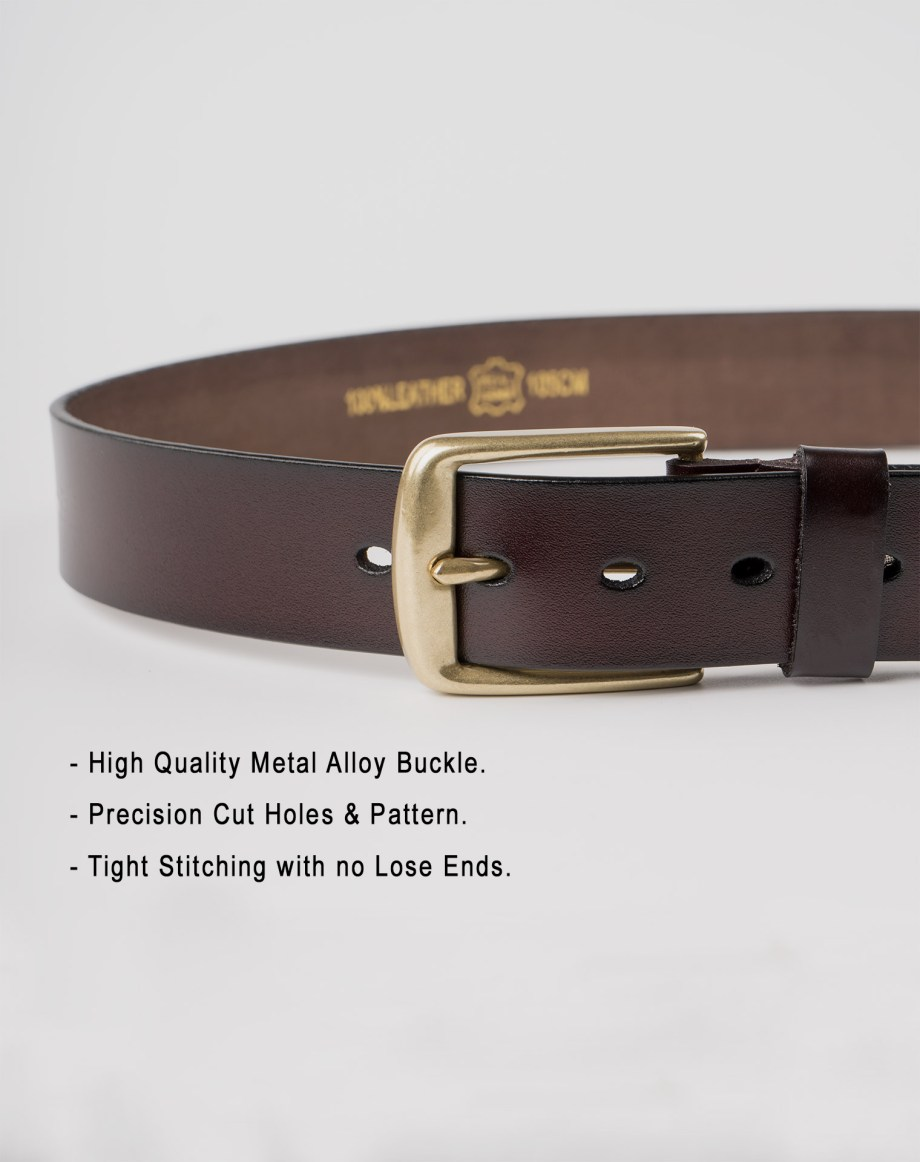 Image 5 of Mens Leather Brown Belt Golden Buckle from Noroze
