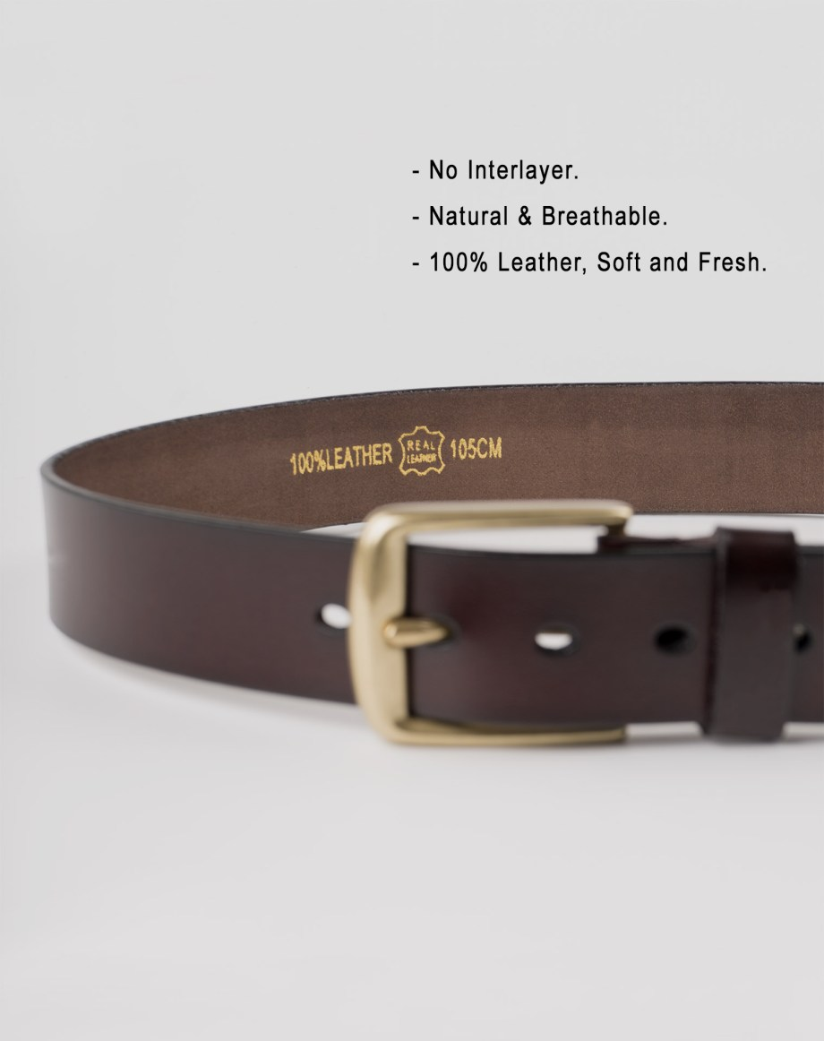 Image 6 of Mens Leather Brown Belt Golden Buckle from Noroze