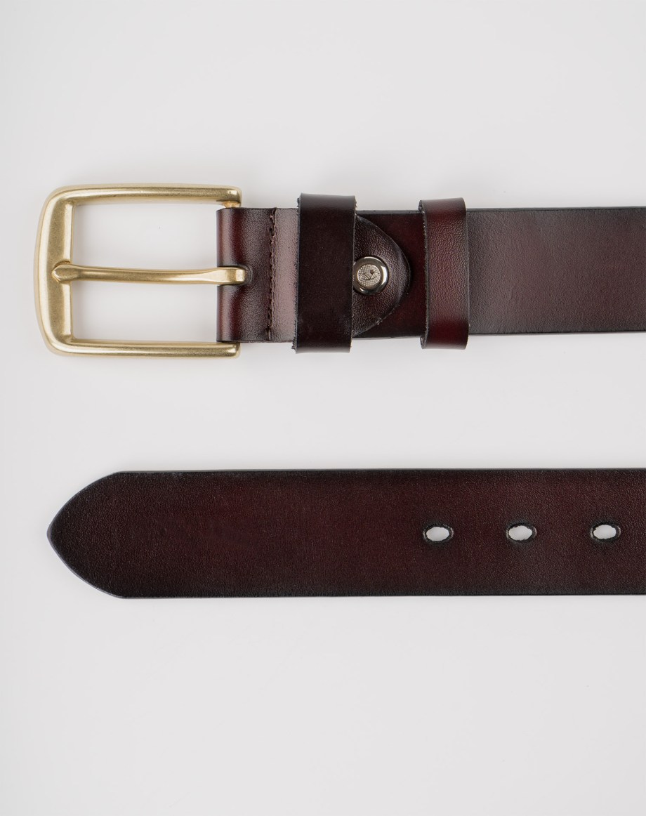 Image 7 of Mens Leather Brown Belt Golden Buckle from Noroze