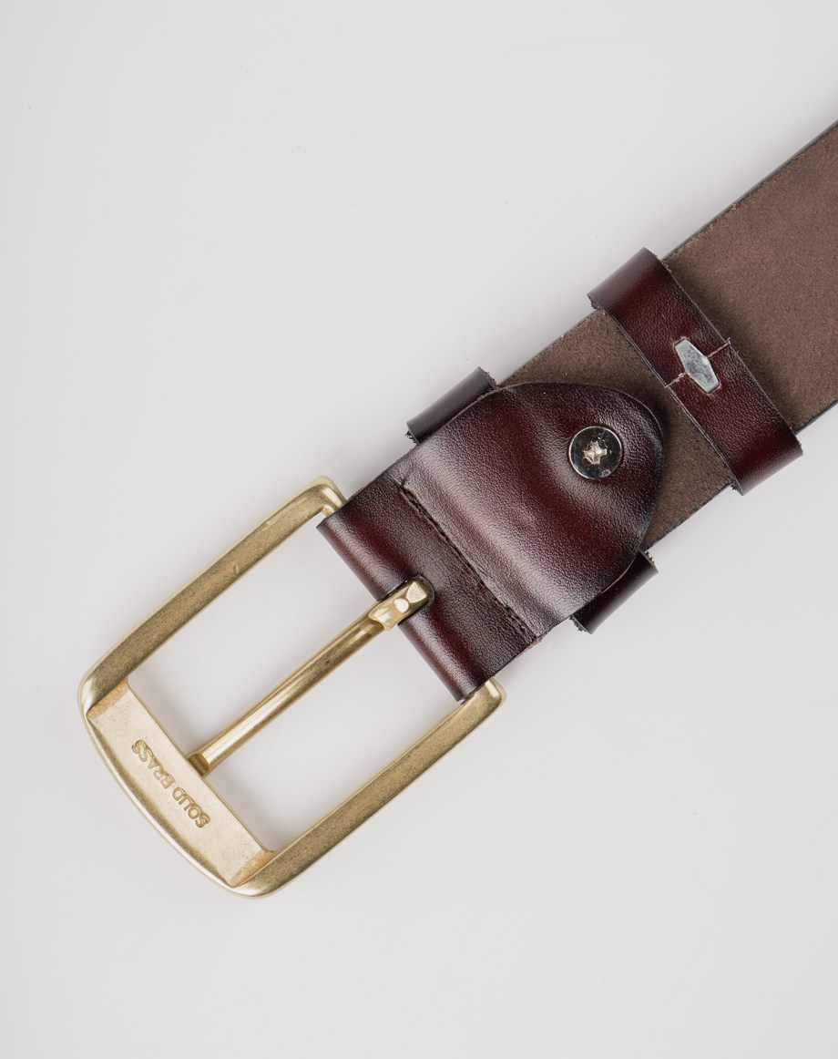 Image 8 of Mens Leather Brown Belt Golden Buckle from Noroze