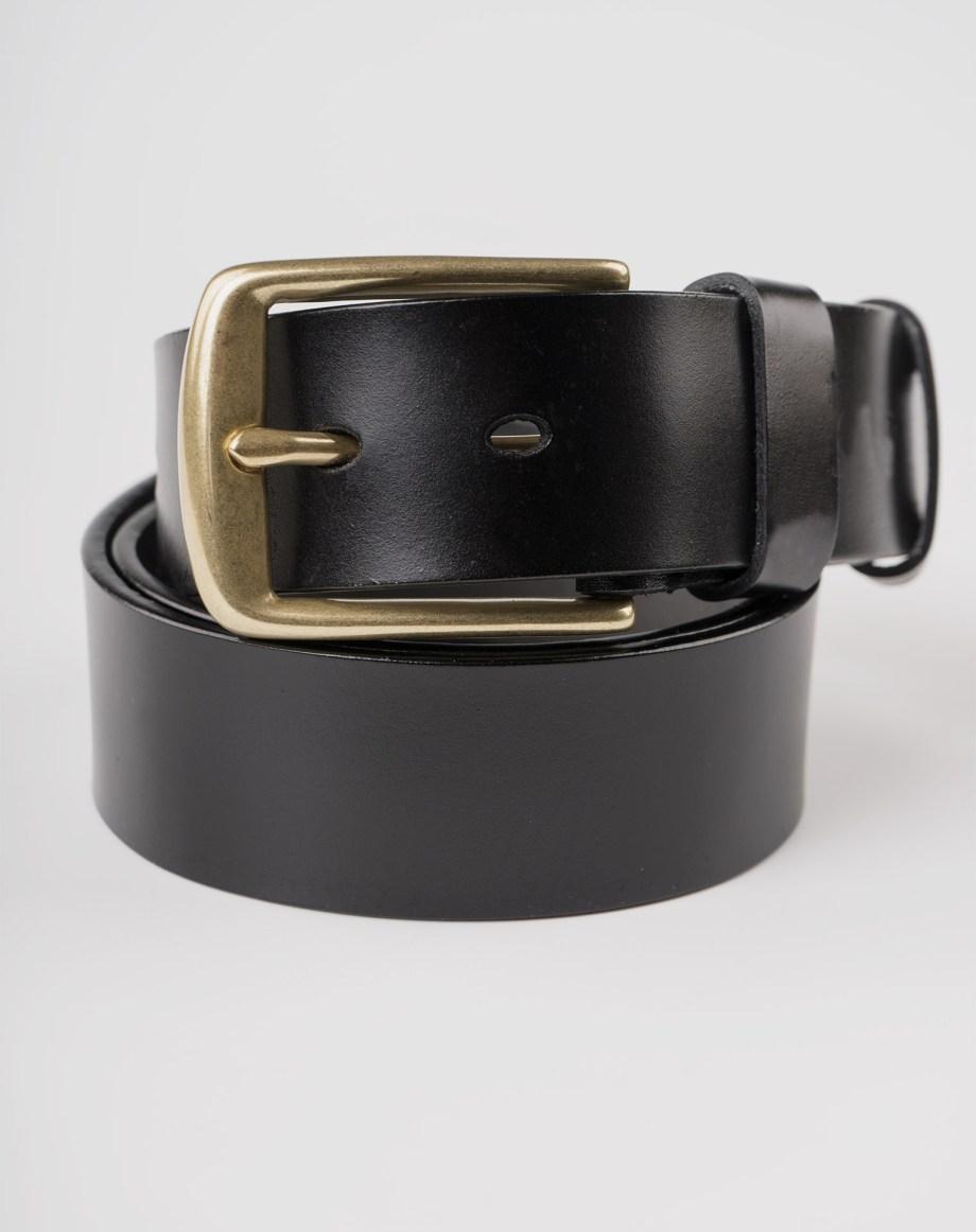 Image 6 of Mens Leather Black Belt Golden Buckle from Noroze