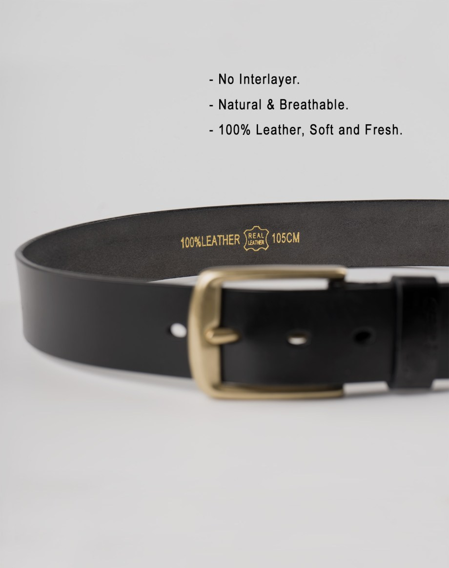 Image 3 of Mens Leather Black Belt Golden Buckle from Noroze