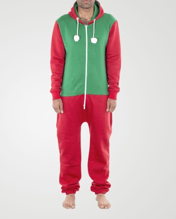 Image 1 of Mens Contrast Color Onesie color Green-Red and sizes S, M. L, XL, 2XL from Noroze