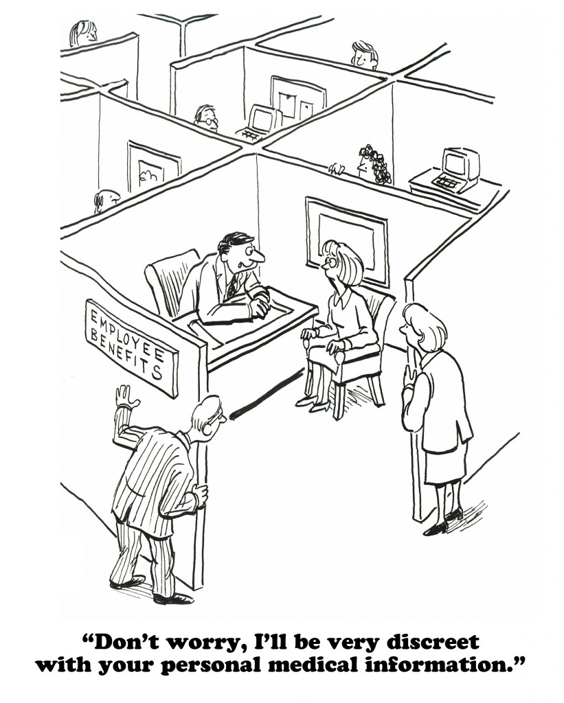 Business cartoon about the lack of privacy in open offices