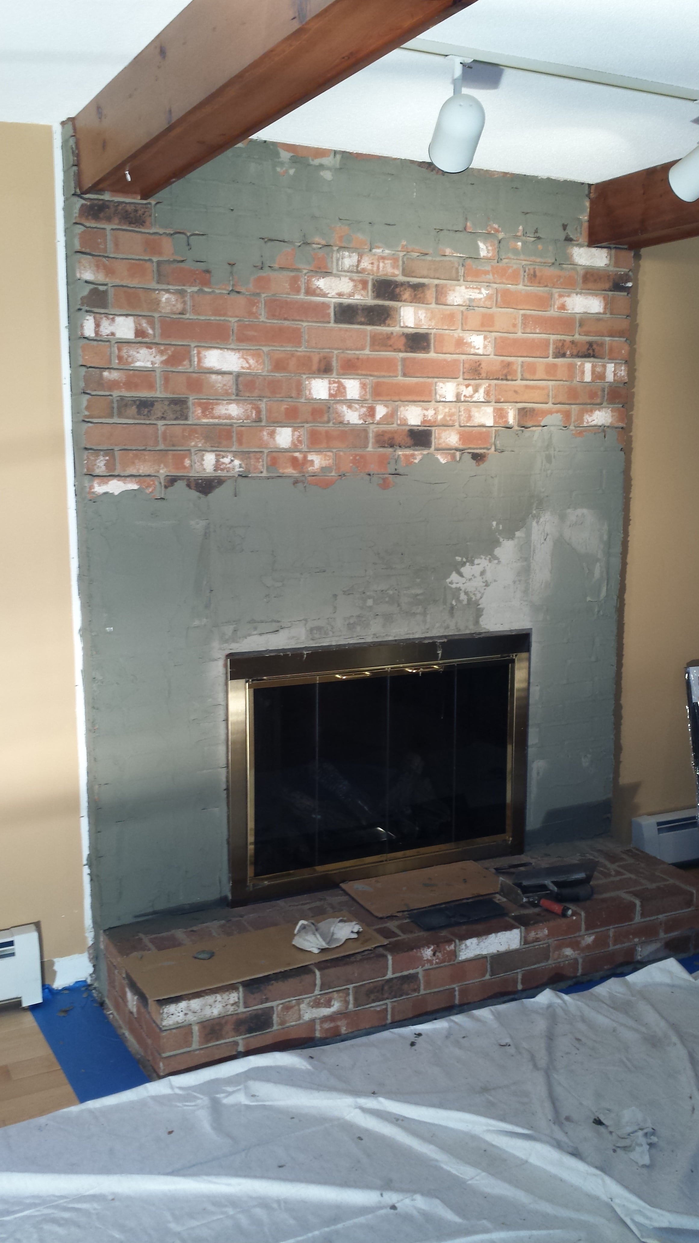 Install Stone Veneers Over Old Brick Fireplace Diy Youtube Aztec Xl Stone Veneer Fireplace Before And After