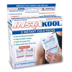 "InstaKool Instant Ice Pack, Size: 5"" x 7"" - JUNIOR (RETAIL BOX - TWIN Pack)"