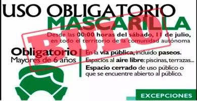 El uso de la mascarilla no volverá a ser obligatorio este sábado en la región de Extremadura
