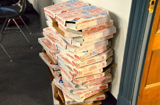 Delegates eat a lot of pizza