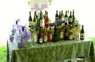 The wine raffle table