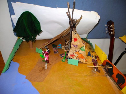 The Juniors are working on Native American village dioramas