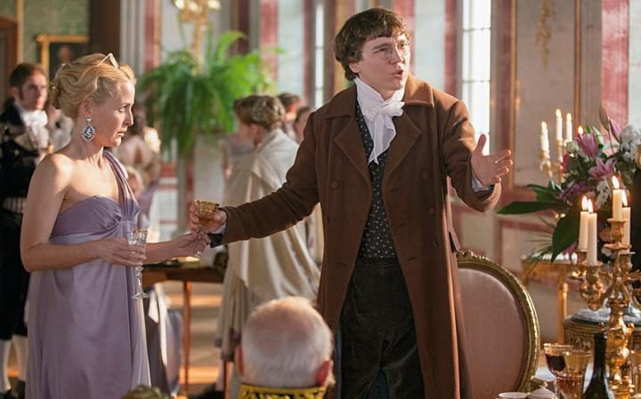Paul Dano's outspoken yet blissfully naive Pierre Bezukhov and Gillian Anderson's pompous Anna Pavlovna Scherer