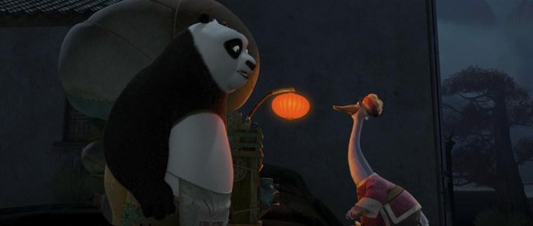 Po (Jack Black) and Mr Ping (James Hong)