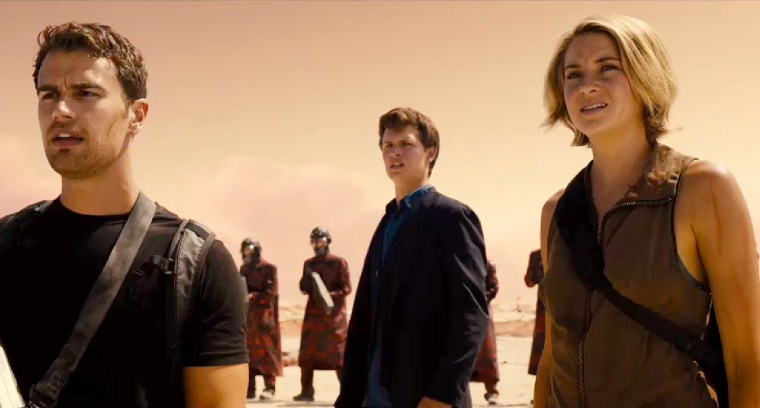 Left To Right: Four (Theo James), Caleb (Ansel Elgort) & Tris Prior (Shailene Woodley)
