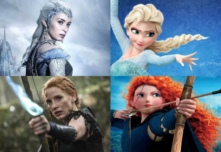 Left To Right: Queen Queen Freya, Queen Elsa, Sara and Merida Of Dunbroch (The Huntsman: Winter's War, Universal Pictures) (Frozen, Brave, Disney)
