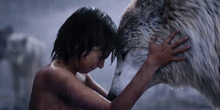 Mowgli (Sethi) and Raksha (Nyong'o) (Jungle Book, Walt Disney Pictures)